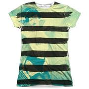 Bettie Page - Black Stripes - Juniors Cap Sleeve Shirt - Large