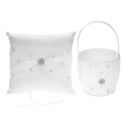 7 * 7 inches White Satin Rhinestone Decorated Ring Bearer Pillow and Wedding Flower Girl Basket