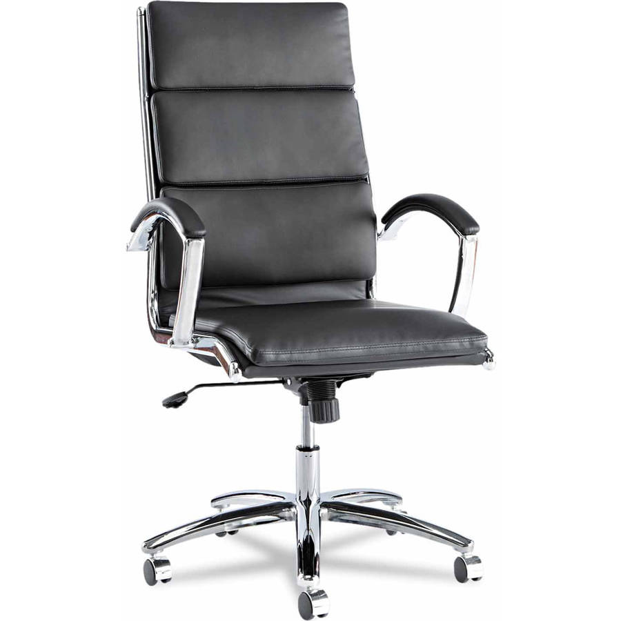 leather and chrome chair. Alera Neratoli Series High-Back Swivel/Tilt Chair, Black Leather, Chrome Frame Leather And Chair