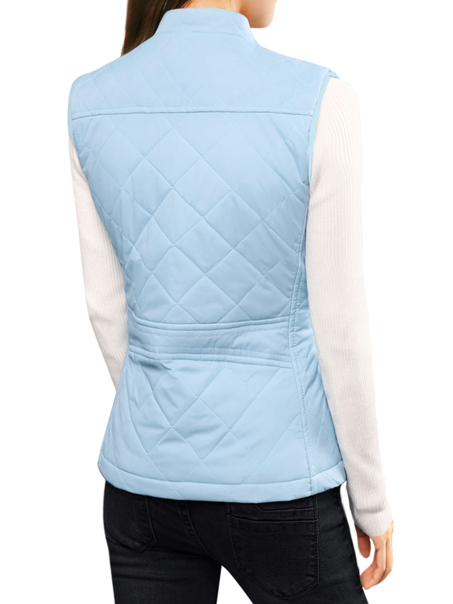 Woman Zip Up Front Stand Collar Lightweight Quilted Padded Vest Dark ...