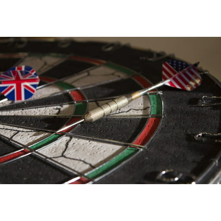 Peel-n-Stick Poster of Dart Board British Close-up American Flags Arrows Poster 24x16 Adhesive Sticker Poster (Adhesive Arrow Flags)