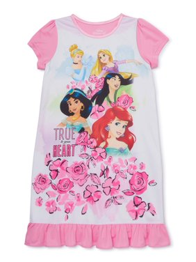 Disney Princess Girls 4-10 Short Sleeve Ruffle Bottom Pajama Nightgown