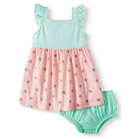 Sleeveless Cross-back Woven Dress & Diaper Cover, 2pc Set (Baby Girls)