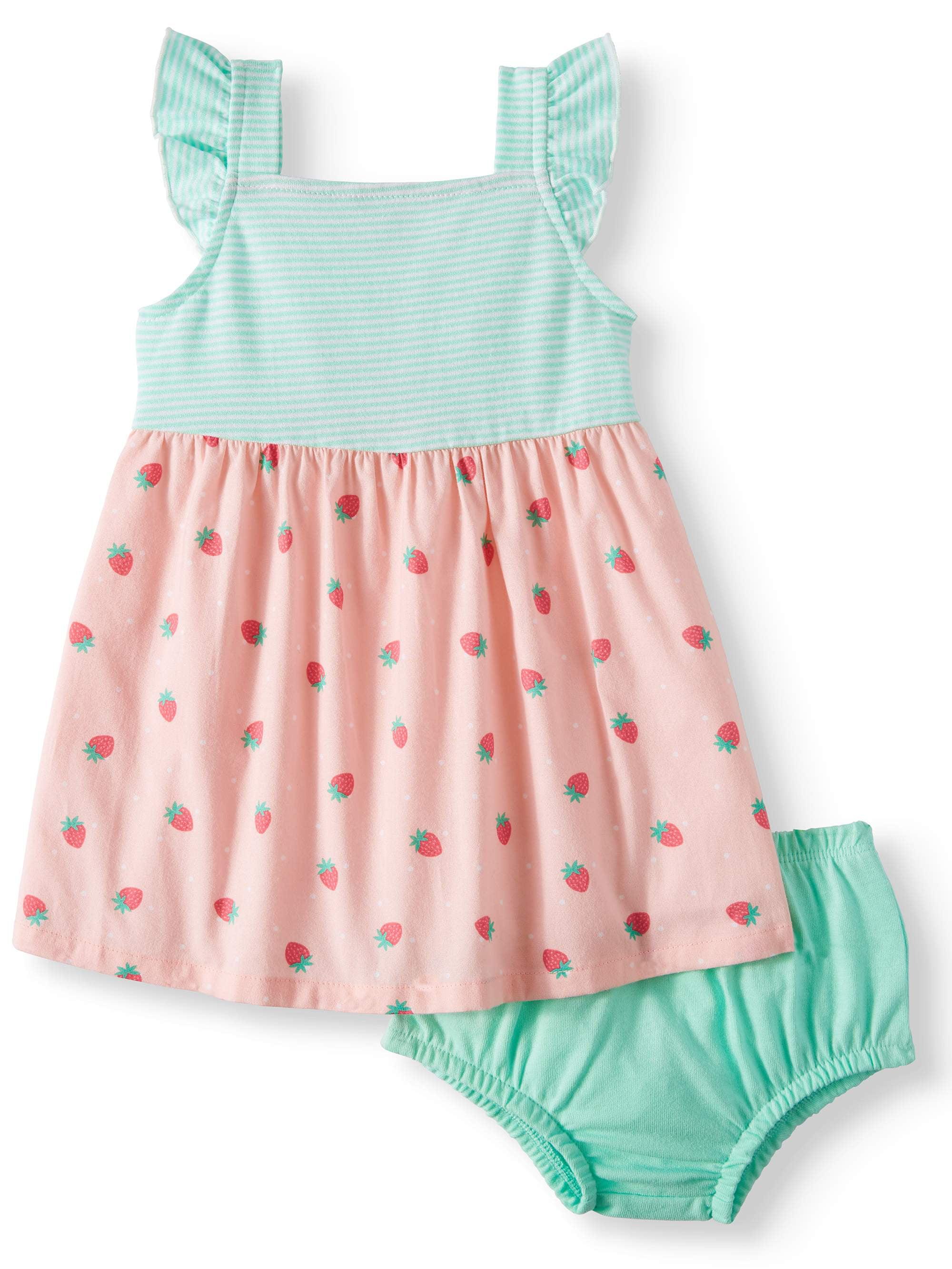 Sleeveless Cross-back Woven Dress & Diaper Cover, 2pc Set (Baby Girls)