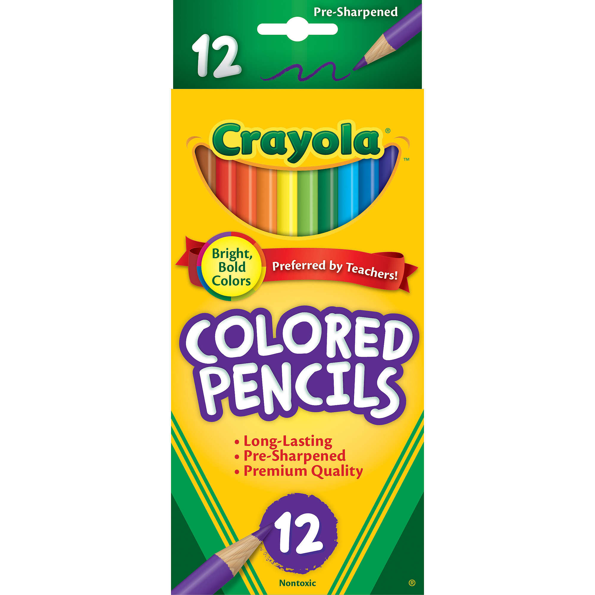 Crayola Long-Barrel Colored Woodcase Pencils, 12-Count