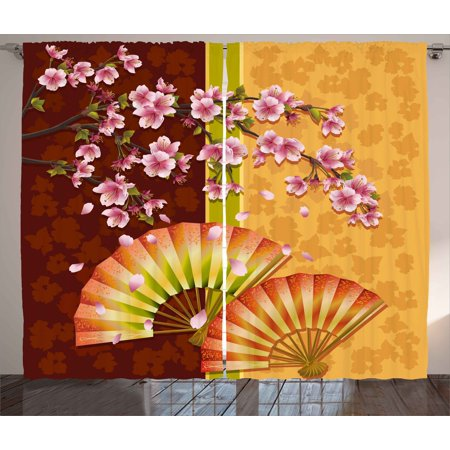 Floral Curtains 2 Panels Set, Sakura Blooms with Japanese Hand Fan Figures Authentic Asian Design, Window Drapes for Living Room Bedroom, 108W X 63L Inches, Marigold Baby Pink Burgundy, by Ambesonne - Asian Fan