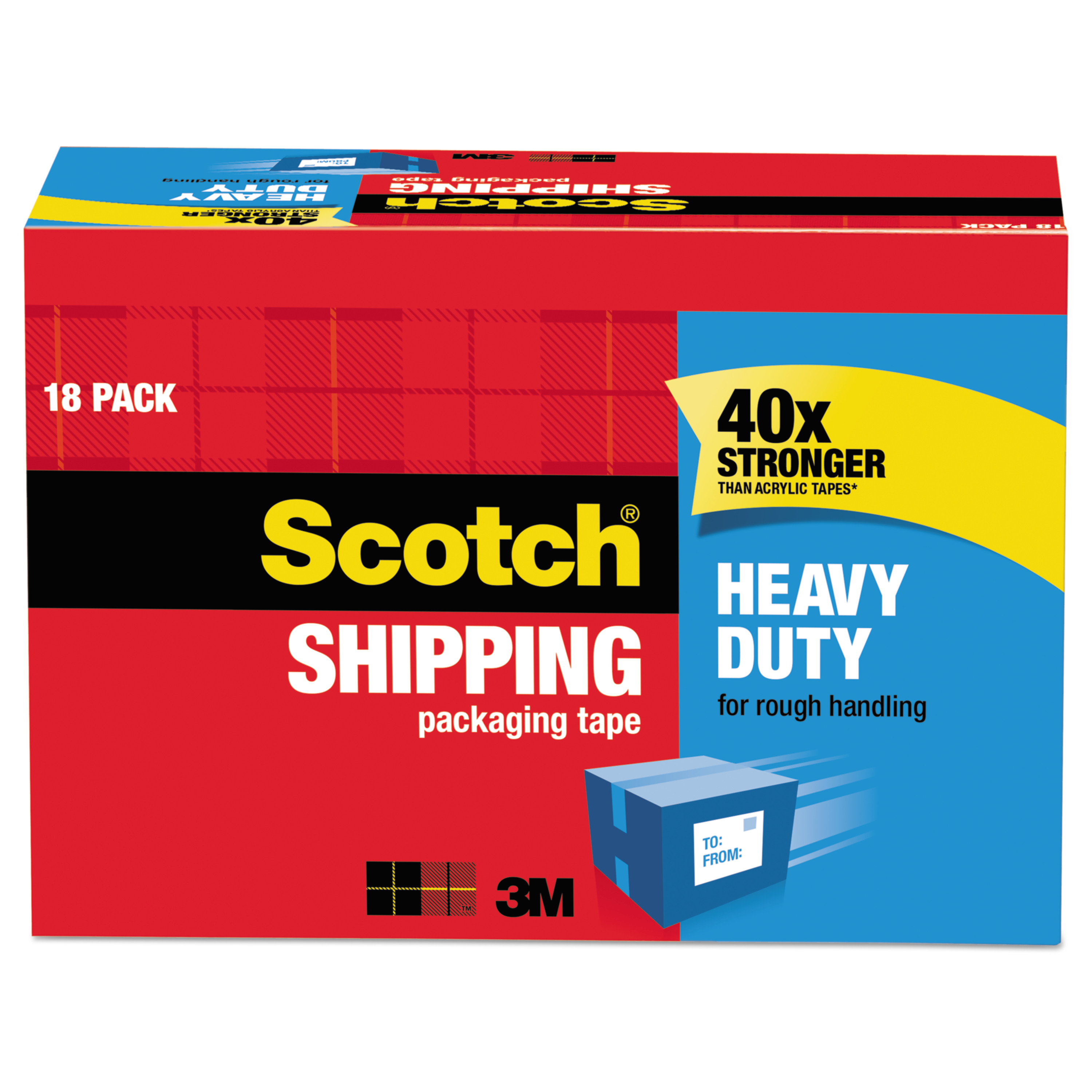 Scotch Heavy Duty Shipping Packaging Tape, 1.88 in. x 54.6 yd., Clear, 18 Rolls/Cabinet Pack