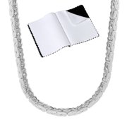 6.3mm .925 Sterling Silver Nickel Free Byzantine Choker Chain Necklace, 18 inches + Jewelry Box, Cloth, & Bag