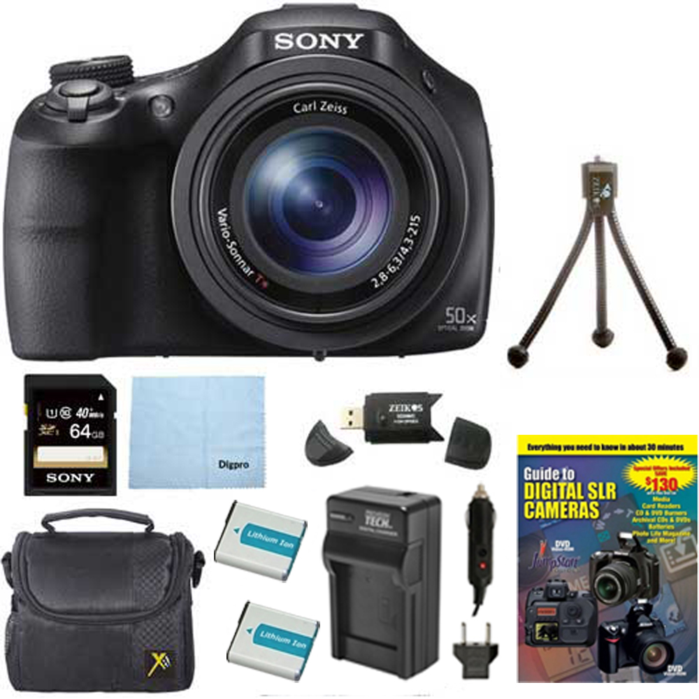 Sony DSC-HX400V/B DSCHX400VB DSCHX400V HX400 20 MP Digital Camera Bundle with 64GB High Speed Card, 2 Spare BatterIES, Rapid AC/DC External Charger, Padded Case, DVD Photography Tutorial, SD Card Rea