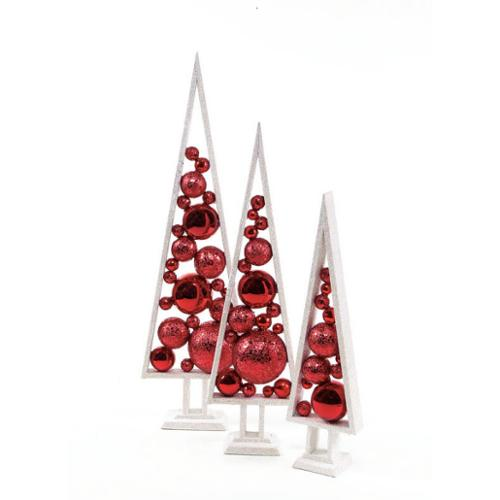 Set of 3 Mod Holiday Glittery White and Red Christmas Ornament Trees