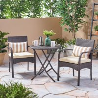 Nasir Outdoor 3 Piece Wicker Bistro Set with Cushions, Multi Brown, Cream