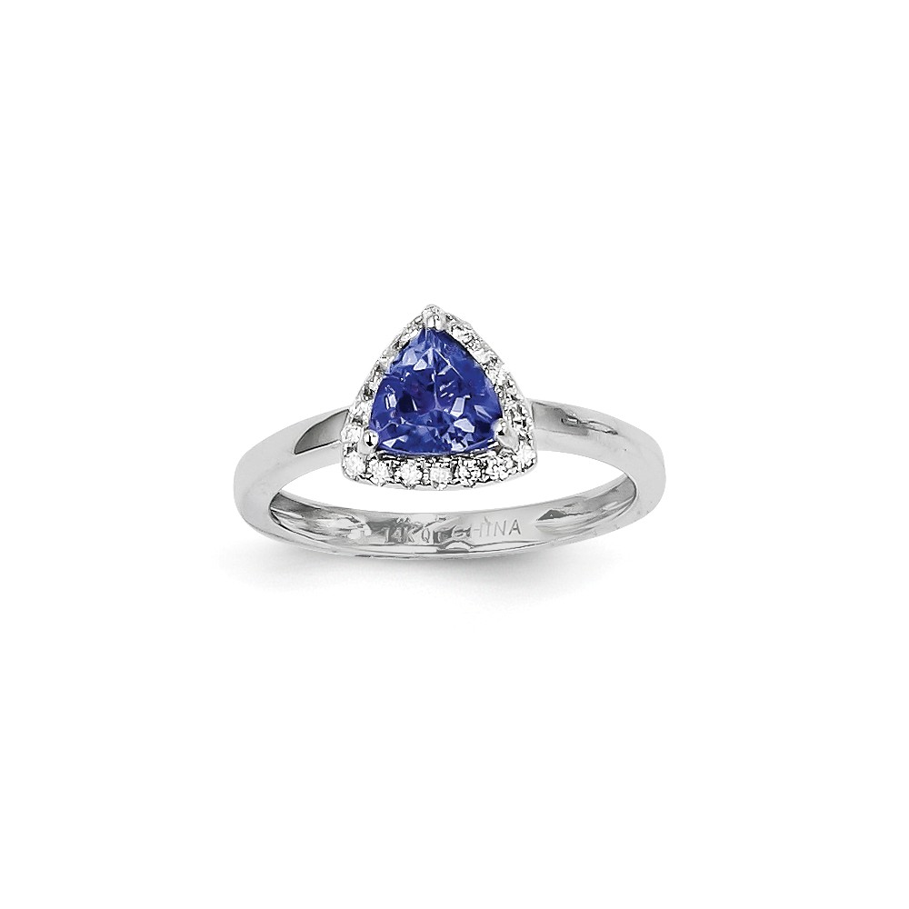 14K White Gold Trillion Tanzanite Diamond Gemstone Ring. Carat Wt- 1.28ct
