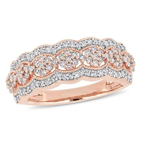 - 1/2 Carat T.W. Diamond 10k Rose Gold Floral Scalloped Ring