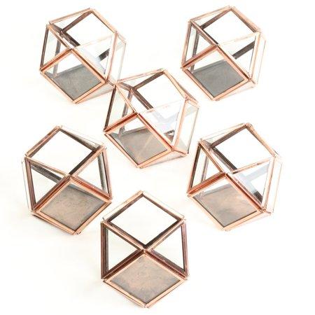 Koyal Wholesale Copper Glass Geometric Votive Candle Holders, Bulk Set of 6, Terrariums, Candle Lanterns, Party - Bulk Candle Holders
