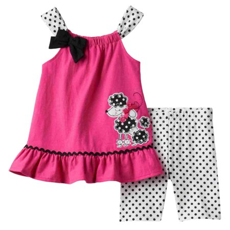 Young Hearts Girls Poodle Outfit Pink Top & Polka Dot Shorts 2 Piece Set