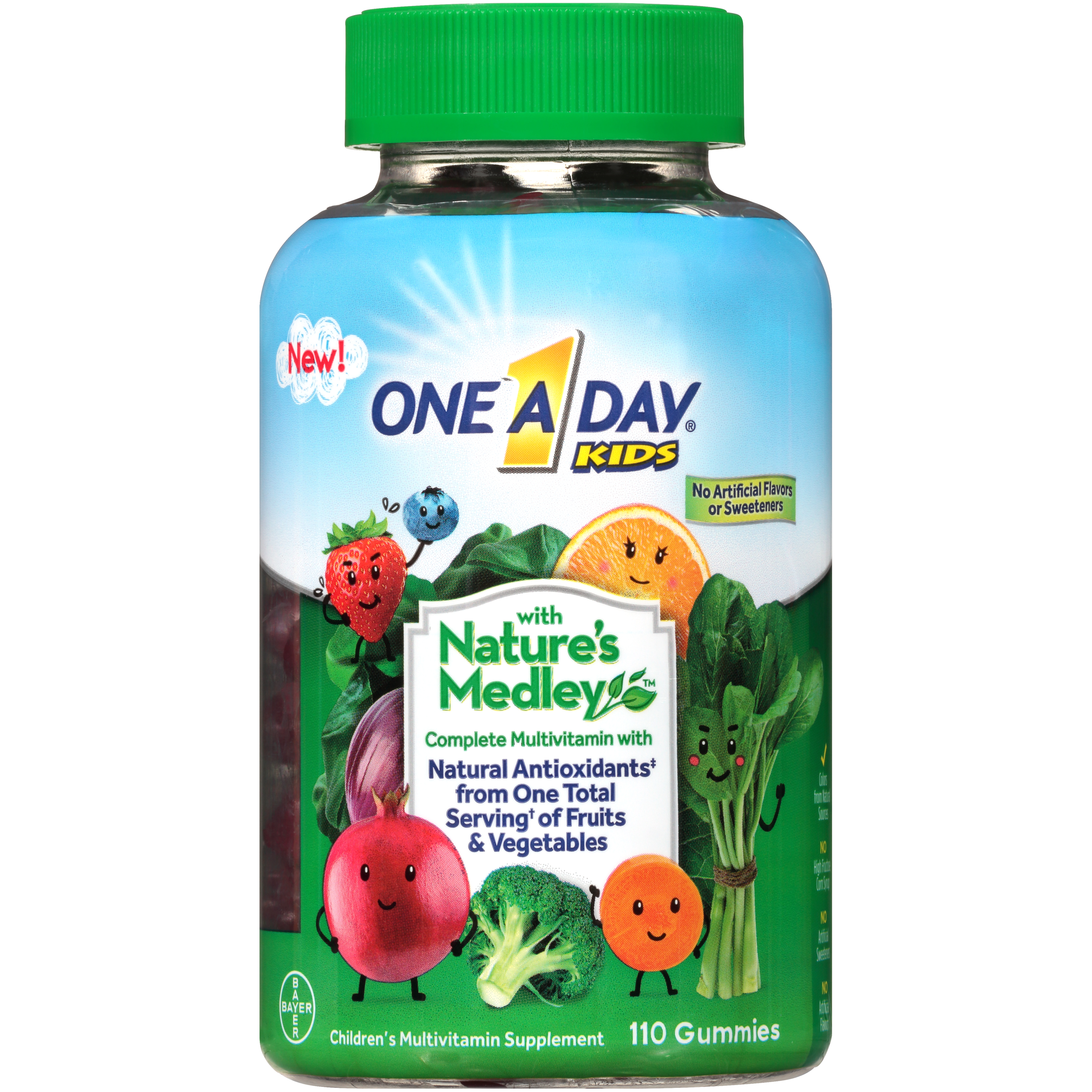 One A Day Kids with Nature's Medley Multivitamin Gummies, 110 Count