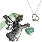 August Birthstone Angel Ornament and Necklace Set
