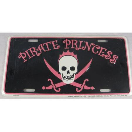 PIRATE PRINCESS METAL LICENSE PLATE SKULL SIGN - Princess And Pirate Decorations
