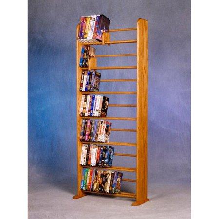 The Wood Shed Solid Oak 7 Row Dowel DVD/VHS Media Rack