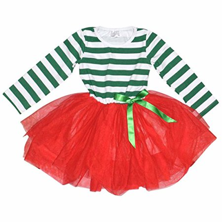 Girls Christmas Dress with Tutu (7/XXL, Red & Green)