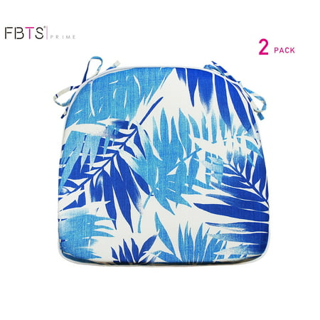 FBTS Prime Outdoor Chair Cushions (Set of 2) 16x17 Inches Patio Seat Cushions Blue Leaf Square Chair Pads for Outdoor Patio Furniture Garden Home Office ()
