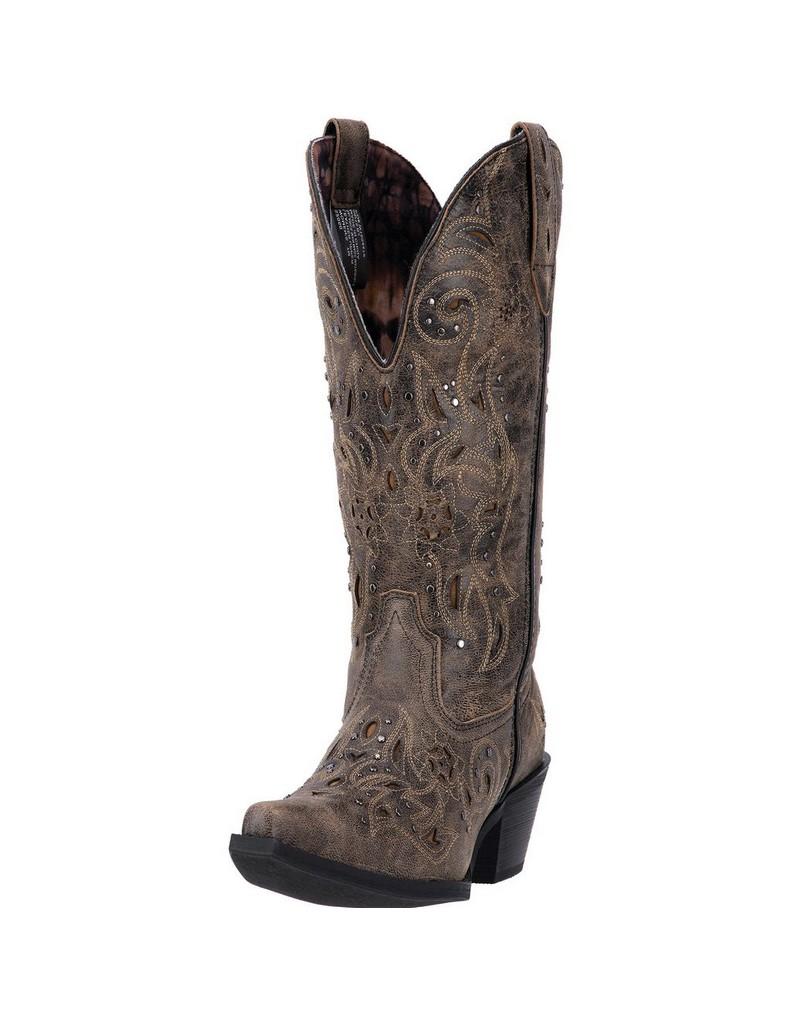 Laredo Western Boots Womens Scandalous Snip Toe Distressed Brown 52050 by Laredo
