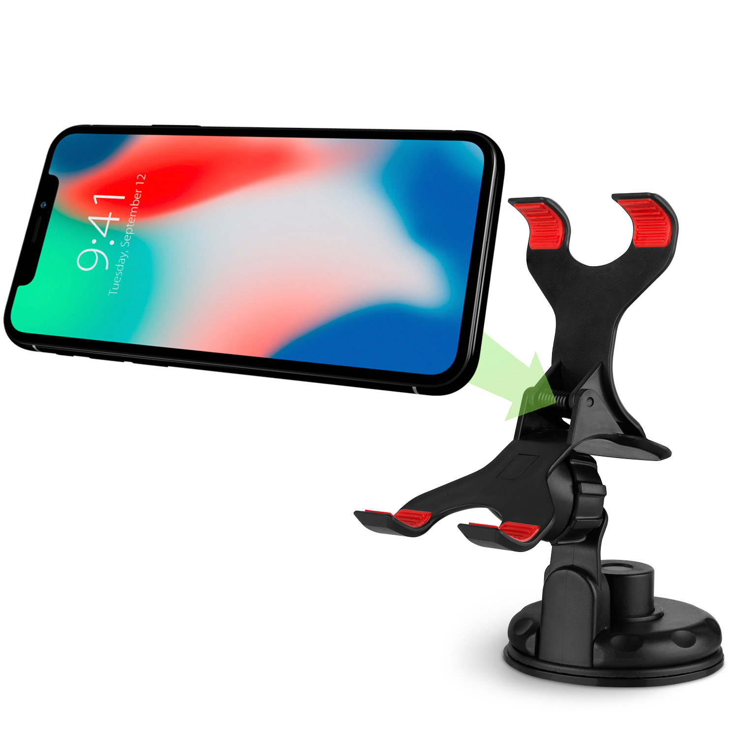 Vena Clip Grip Car Mount Holder with Sticky Sunction Cup for Apple iPhone, Samsung, HTC, LG Smartphones -Up To 90mm Wide