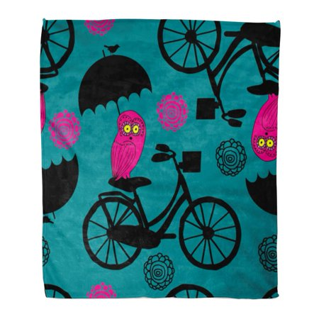 NUDECOR Throw Blanket 50x60 Inches Abstract Patterns with Red Owl Green Bicycle Bird Birdie Bizarre Bright Warm Flannel Soft Blanket for Couch Sofa Bed - image 1 de 1
