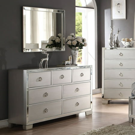Acme Furniture Voeville II Platinum 7 Drawer Dresser with Optional Mirror ()