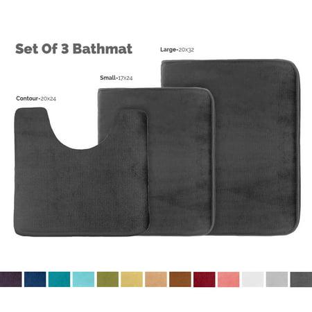 Set of 3 Clara Clark Bath Mat Bathroom Rug - Absorbent Memory Foam Bath Rugs - Non-Slip, Thick, Cozy Velvet Feel Microfiber Bathrug - Black - Large 20