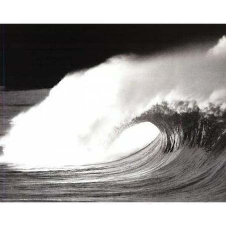 Wave Black & White Laminated Poster (20 x 16) 16' Deep Black Laminate