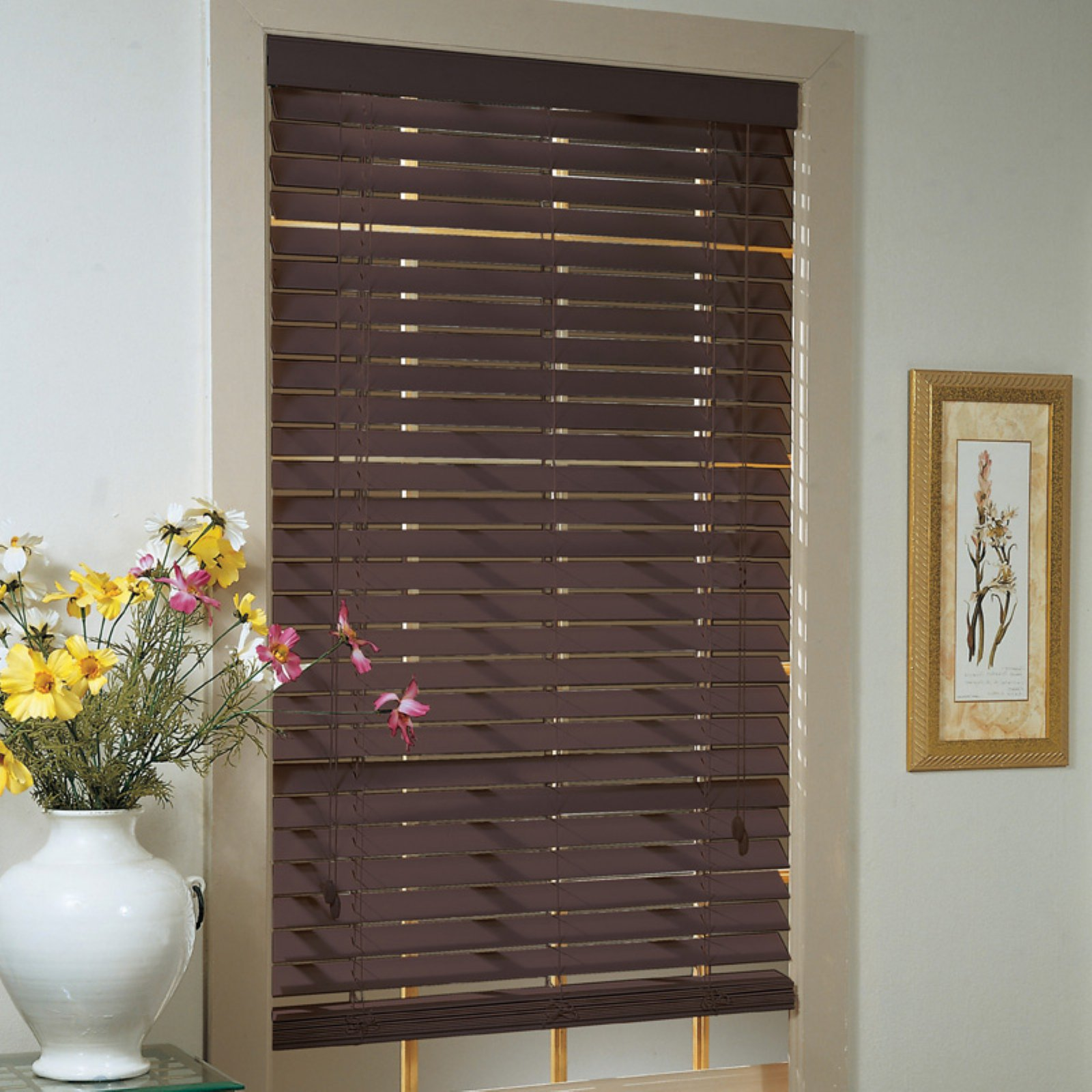 "Click here to buy Madera Falsa 2"" Faux Wood Plantation Blinds by PowerSellerUSA."