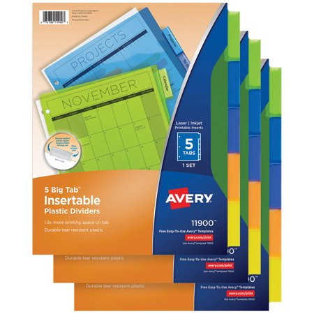 Avery 5-Tab Dividers, Insertable Multicolor Big Tabs, 3 Sets