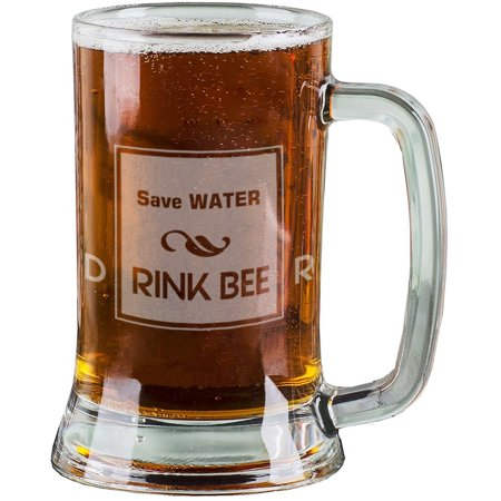 16 Oz Personalised Pint Beer Glasses Etched Mug Engraved with Save WATER DRINK BEER Funny Beer Glasses for Men Gift
