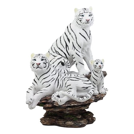 Ebros Realistic Sculptural Large Siberian White Tiger Family On A Rock Statue 13.5