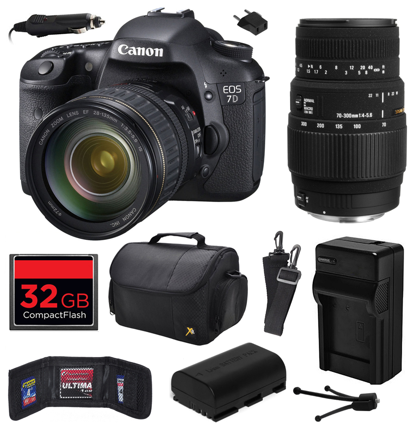 Canon EOS 7D 18 MP CMOS Digital SLR Camera with 28-135mm f/3.5-5.6 IS USM and Sigma 70-300mm f/4-5.6 DG Macro Lens with 32GB Memory, Large Case, Battery, Charger, Memory Wallet, Cleaning Kit 3814B010