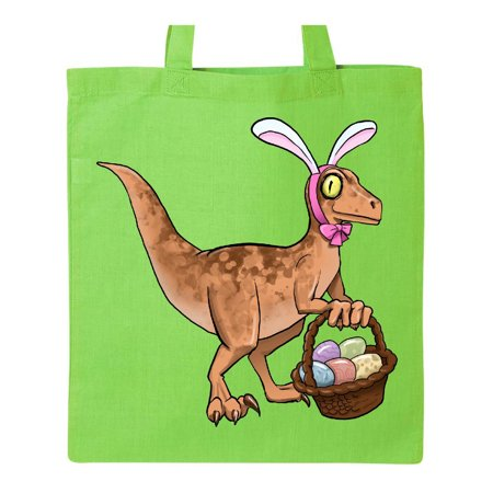 Easter Velociraptor with Bunny Ears Tote Bag Lime Green One Size