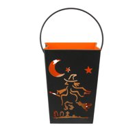 "7.25"" Black and Orange Flying Witch on Broom Halloween Candle Lantern Luminary"