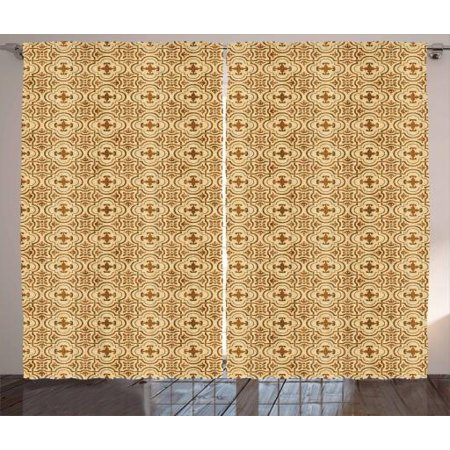 Earth Tones Curtains 2 Panels Set Old Fashioned Damask Style Curved Floral Shapes Classical Grunge Motif Window Drapes For Living Room Bedroom 108w