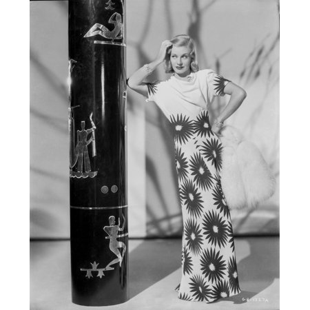 Ginger Rogers in Flower Design Gown Black and White Photo (Rogers Silverplate Flower)