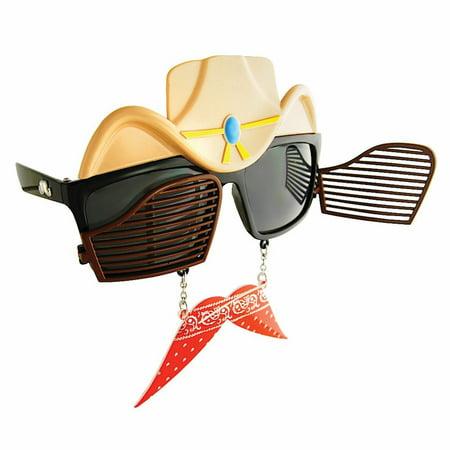 Cowboy Sunstaches Moustache Sunglasses Shades Costume Accessory Western - Cowboy Accessories