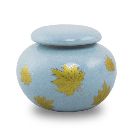 Leaf Urn - Ceramic Keepsake Urns - Extra Small 12 Pounds -  White Falling Leaves - Engraving Sold Separately