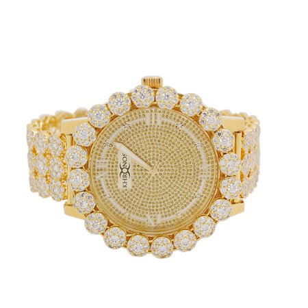 Mens Gold-Tone Genuine Diamond Flower Big Cluster Bezel Watch with Full Jojino Iced out Metal Band