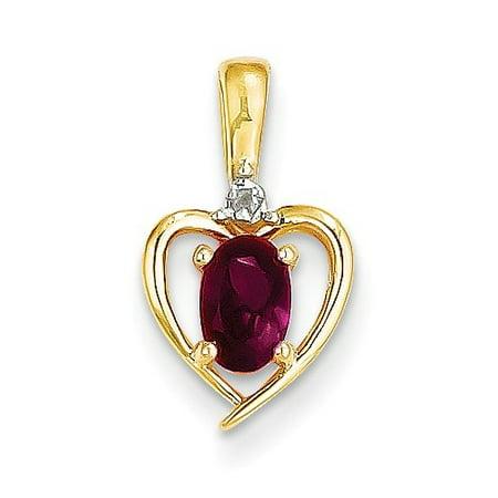 - 14k Yellow Gold 6x4 Oval Diamond & Genuine Ruby Pendant. Gem Wt- 0.56ct