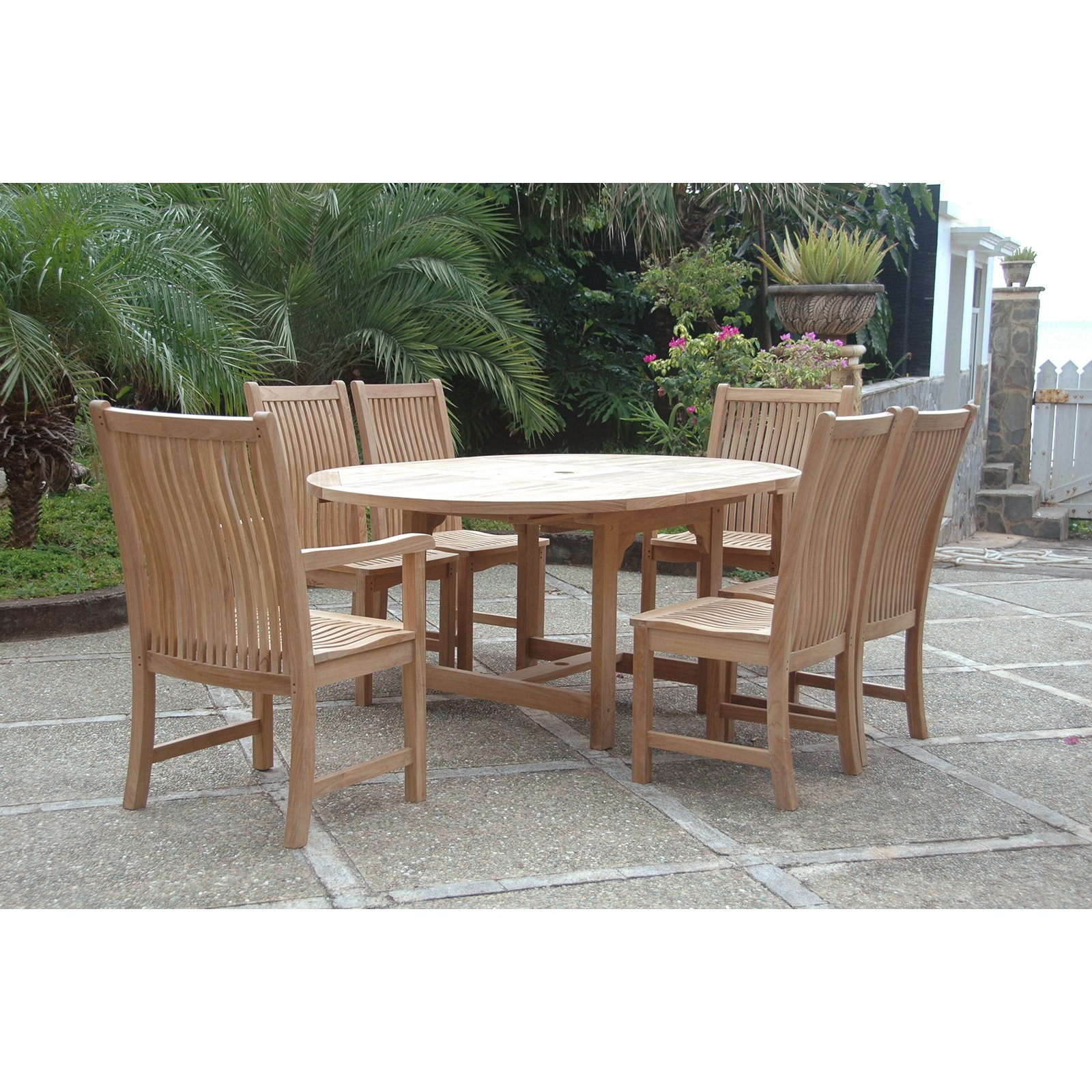 Click here to buy Anderson Teak Chicago 7 Piece Patio Dining Room Set.