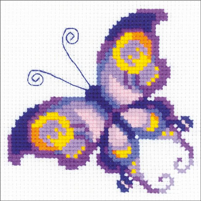 5.25 x 5.25 in. Amethyst Butterfly Counted Cross Stitch Kit - 10 Count