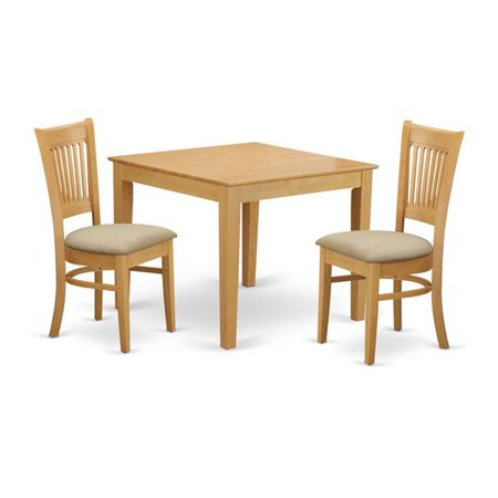 East West Furniture OXVA3-OAK-C Oxford Dining Room Kitchen Dinette Table &  2 Chairs, Oak