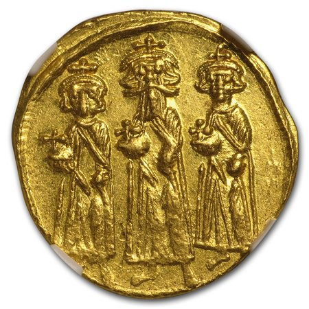 Follis Constantinople Mint (Byzantine Gold Solidus Emp.Heraclius,Her,Con. (632-641 AD) MS NGC)