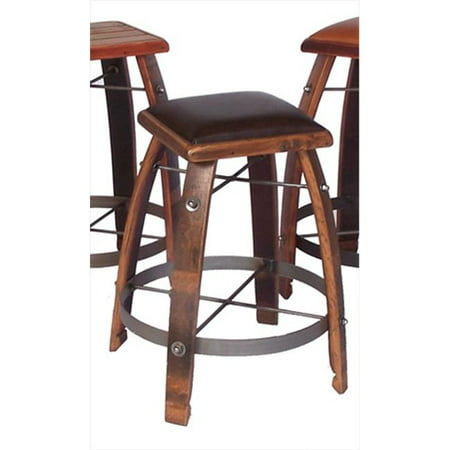 Brilliant 2 Day Designs 818T30 30 Inch Wine Barrel Stave Stool With Leather Seat Pdpeps Interior Chair Design Pdpepsorg