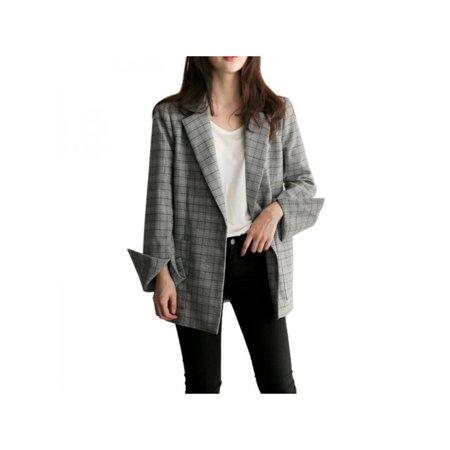 Fymall Women Fashion Plaid Blazer Office Loose Casual Coat Jackets Long Sleeve Outwear